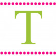 Stock Photo: T Pink & Green Rectangular Monogram