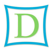 D Blue And Green Monogram — Stockfoto