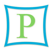 P Blue And Green Monogram — Stock Photo