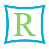 R Blue And Green Monogram — Stock Photo
