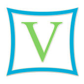 V Blue And Green Monogram — Foto de Stock