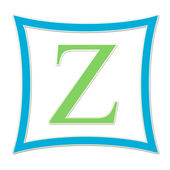 Z Blue And Green Monogram — Foto de Stock