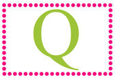 Q Pink & Green Rectangular Monogram — ストック写真
