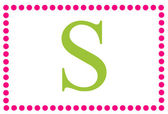 S Pink & Green Rectangular Monogram — Stock Photo