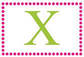 X Pink & Green Rectangular Monogram — Stock Photo