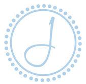 J Round Blue Letter Monogram — Stock Photo