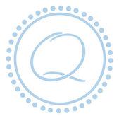 Q Round Blue Letter Monogram — Stock Photo