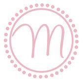 M Round Pink Letter Monogram — Stock Photo