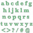 Green Bling Lowercase Alphabet — 图库照片