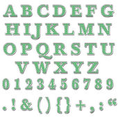 Alphabet majuscules bling vert — Photo