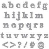 Silver Bling Lowercase Alphabet — Stock Photo