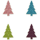Glitter Christmas Trees - Pink Blue Green & Purple — Foto Stock
