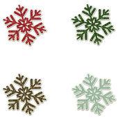 Natale glitter fiocchi di neve - rosso verde marrone blu — Foto Stock