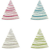 Glitter Christmas Trees in Pink Blue Silver & Green — Stockfoto
