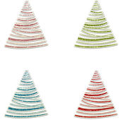Glitter Christmas Trees in Pink Green Blue & Red — Stock Photo