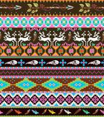 Aztecs seamless pattern with skull, leaf, feather, flowers and dear — Wektor stockowy