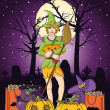 Illustration of young witch with pumpkin at Halloween night — Stock Photo