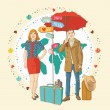 Young in casual standing with travel bag, holding umbrella,and thinking about journey, on color map — Stock Vector