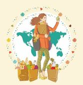 Young woman holding a shopping bag full of groceries — Stock Vector