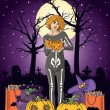 Vector illustration of young woman with pumpkin at Halloween night — Stok Vektör