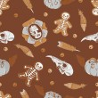 Halloween seamless background with vintage brooch, skulls, cookies, pumpkins  and  feathers - Vettoriali Stock