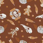 Halloween nahtlose hintergrund mit vintage brosche, schädeln, cookies, kürbisse und federn — Stockvektor