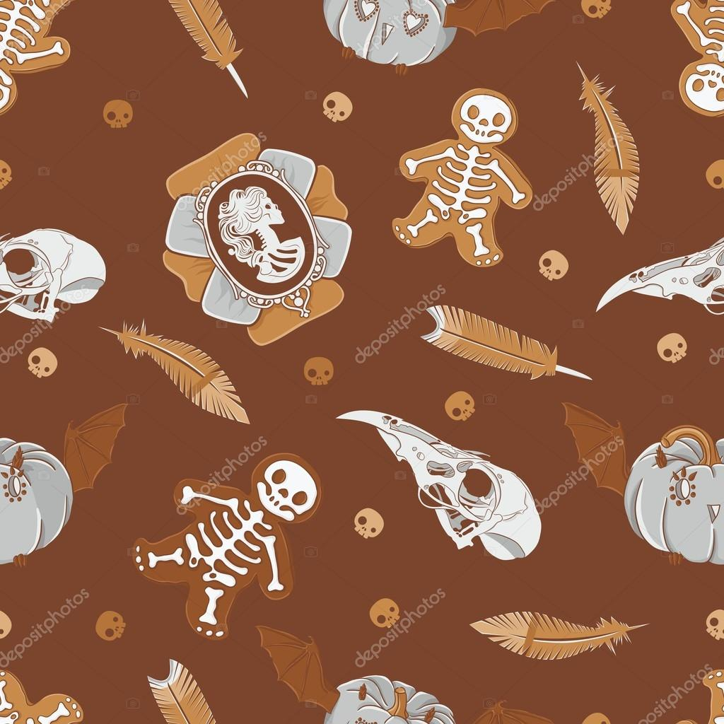 Halloween seamless background with vintage brooch, skulls, cookies, pumpkins  and  feathers — Stock Vector #13849580