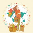 Vector de stock : Young pregnant woman, stay with shopping bag full of groceries and holding a balloons