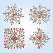 Collezione di icone retrò di fiocchi di neve — Vettoriale Stock