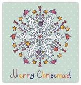 Merry Christmas card with snowflakes — Stock Vector
