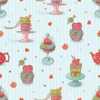 Cupcake seamless pattern - Stock Vector