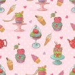 Sweet seamless pattern with cupcakes and ice cream — Stock Vector