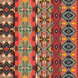 Aztecs seamless pattern on hot color — Stock Vector