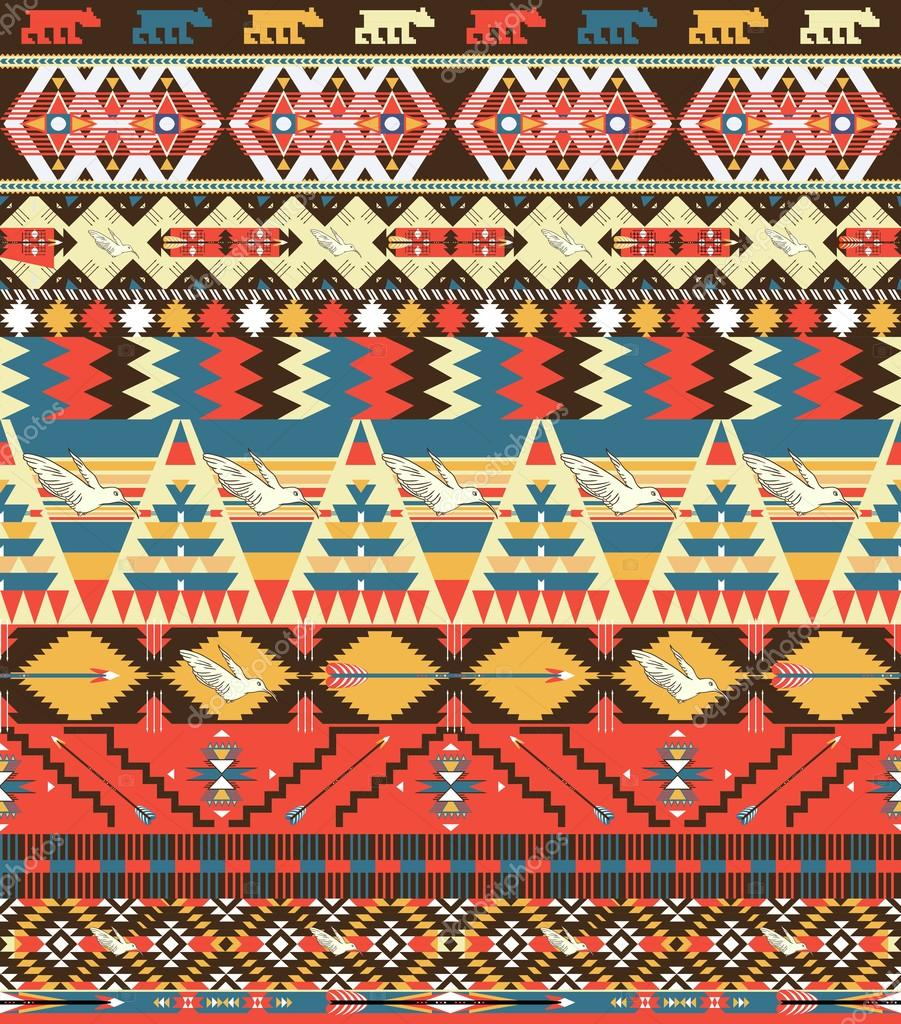 Seamless Colorful Aztec Pattern With Birds Flowers And