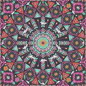 Ornement rond motif géométrique aztèque, fond de cercle avec de nombreux éléments colorés avec des roses et oiseaux — Vecteur
