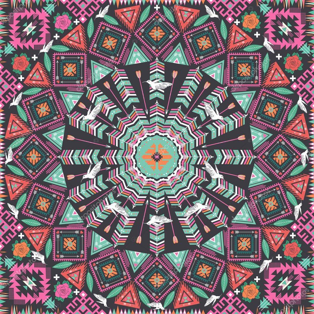 Ornamental round aztec geometric pattern, circle ...