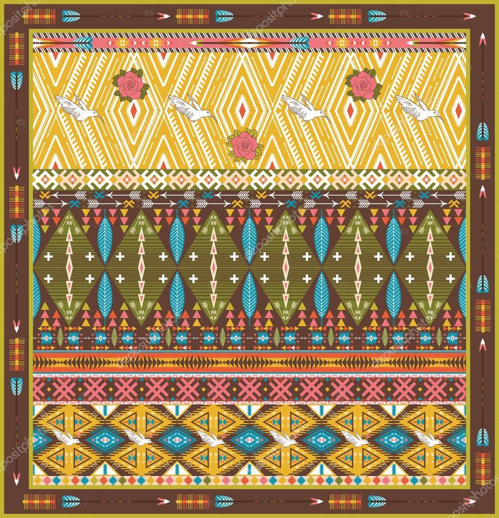 Nahtlose bunte Aztec Teppich mit Vögeln und Pfeil