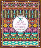 Sem costura padrão asteca de hipster com geométricos elementos e aspas tipográfico texto — Vetorial Stock