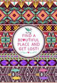 Hipster seamless tribal pattern with geometric elements and quotes typographic text — Vecteur
