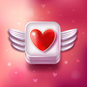 Heart Valentines day icon with sparkle pink background — Stock vektor