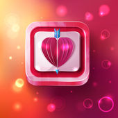 Valentines day card with arrow on sparkles background — Stock Photo
