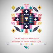 Vector colorful decorative element on native ethnic style — Vecteur