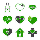 Health-care and ecology symbols — Stock Vector