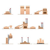 Set of icons of Industrial buildings — Stock Vector