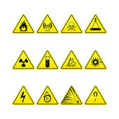 Yellow warning and danger icons collection — Stock Vector