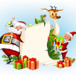 Stock Vector: Background with reindeer, SantClaus and his elves