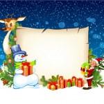 Christmas card with a snowman reindeer and an elf — Stock Vector #14876159