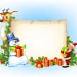 Christmas background with a snowman reindeer and an elf — Stock Vector #14876163