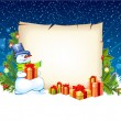 Illustration of snowman with empty blank on horizontal backgroun - Stock Vector