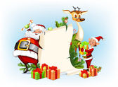 Background with reindeer, Santa Claus and his elves — Stock Vector